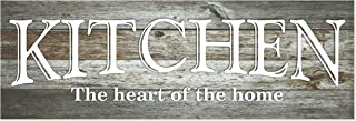 Kitchen The Heart of The Home Rustic Wood Wall Sign 6×18 (Gray)