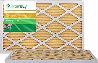 FilterBuy 16x25x1 MERV 11 Pleated AC Furnace Air Filter, (Pack of 2 Filters), 16x25x1 – Gold