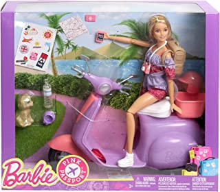Mattel Doll Playset Barbie Pink Passport Travel Doll with Purple Scooter