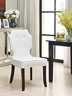 Iconic Home 2 Piece Contemporary Tufted Cream White PU Leather Lennon Dining Chair Set