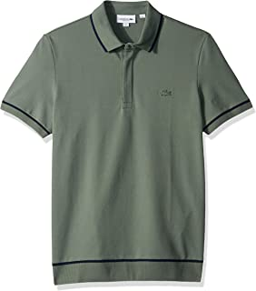 Lacoste Men's S/S Print Mini Pique Stretch Shirt, Grassy/Navy Blue, XXL
