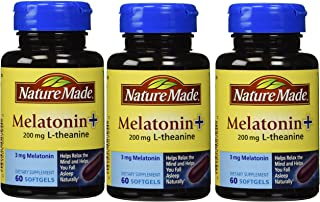 Nature Made Melatonin+ 200mg L-Theanine Dietary Supplement Liquid Softgels - 60 CT (Pack of 3)