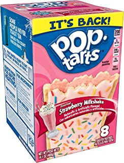 Pop-Tarts Breakfast Toaster Pastries, Frosted Strawberry Milkshake, 14.1 oz (8 Count)