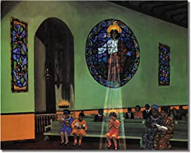 African American Black Church Praying in Light of Jesus Wall Picture 8x10 Art Print