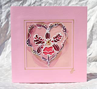 Hand Painted Orchid Love Card,Flowers Silk Card,Orchid Anniversary Card,Unusual Pink Wedding Card,Exotic Flower Card,Orchid Mother's Day,Wedding Invitation.