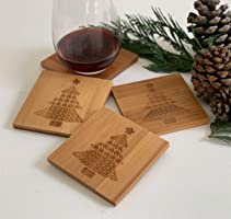 Christmas Tree Coaster Set, Wood Engraved, Set of 4, Quilt-Patterned Christmas Trees, Holiday Décor