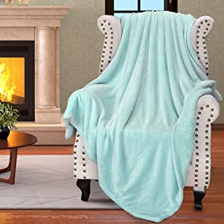 """Catalonia Teal Sherpa Throws Blanket for Girl,Super Soft Comfy Fuzzy Micro Plush Fleece Snuggle Blanket for TV Bed Sofa Couch Reversible Match Color All Season 50""""x60"""""""