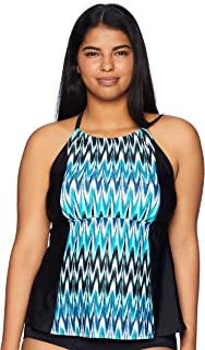 Amazon Brand - Coastal Blue Women's Swimwear Highneck Halter Tankini Top with Strappy Back
