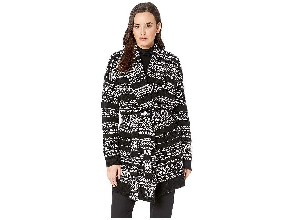 LAUREN Ralph Lauren Wool-Blend Belted Cardigan (Polo Black/Mascarpone Cream Multi) Women