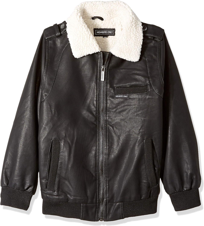 Members Only boys Berber Lined Vegan Leather Bomber Jacket