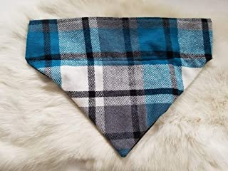 Black and Blue Plaid Flannel Over the Collar Dog Bandana Medium