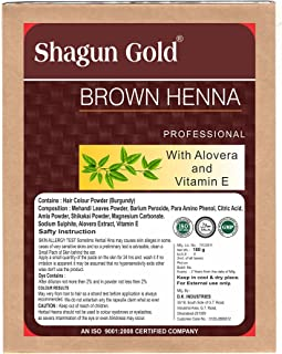 Shagun Gold A 100% Natural Hair Color Brown Henna For Hair Certified By Gmp / Halal / ISO-9001-2015 Semi Permanent 7 Oz / ( 1 / 2 lb ) / 200g