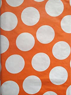 Summer Fun Flannel Back Vinyl Tablecloths - Orange and White Polka Dot - Assorted Sizes (52 x 70 Oblong)