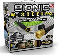 Bionic Steel PRO Garden Hose - 304 Stainless Steel Metal 100 Foot Garden Hose � Heavy Duty Lightweight, Kink-Free, and Stronger Than Ever with Brass Fittings and On/Off Valve � 2019 Model
