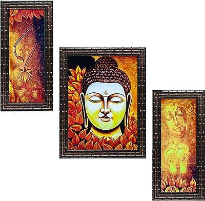 Indianara Set of 3 Gautam Buddha Framed Art Painting (3593GB) without glass 6 X 13, 10.2 X 13, 6 X 13 INCH