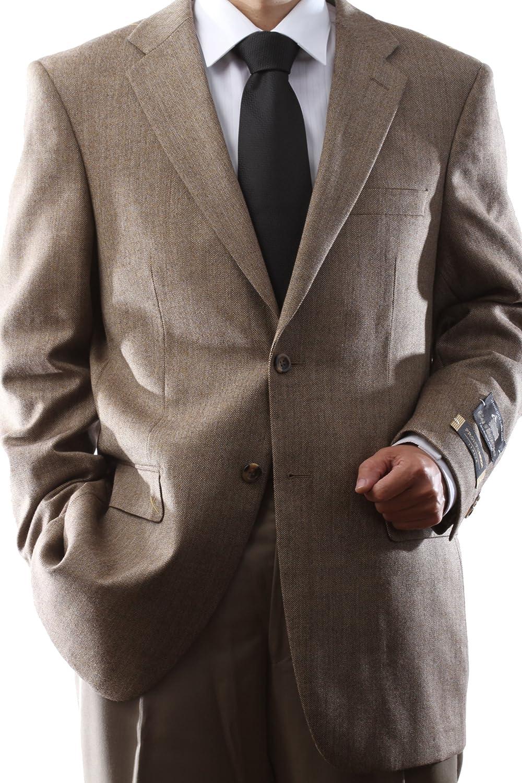 Prontomoda Men's 2 Button Luxury Wool Toast Color Sport Coat