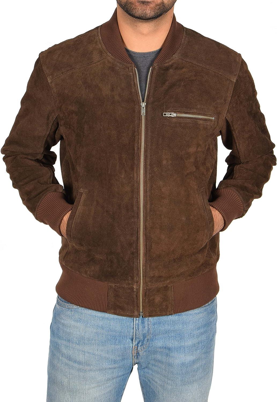 Mens Real Brown Suede Bomber Jacket Leather Varsity Baseball Casual Coat - Roco (Medium)
