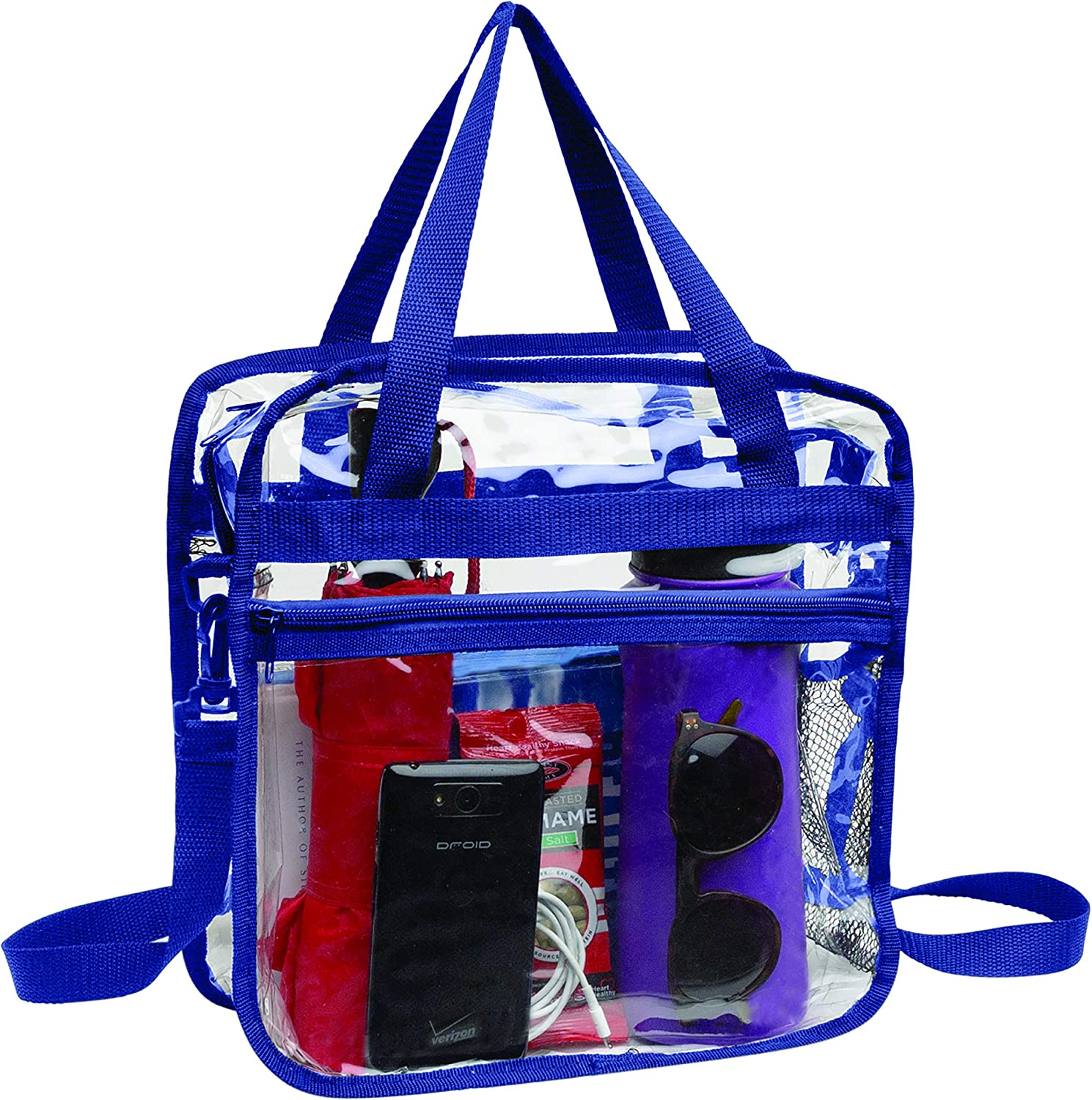 Clear Bag Stadium Approved Tote Double Max 89% OFF At the price Adju Zippers Handles with