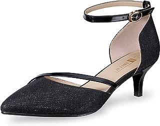 IDIFU Women's IN2 Maxine Wedding Low Kitten Heels Closed Toe Party Dress Pumps Shoes for Bridal Bride Women (8, Black)