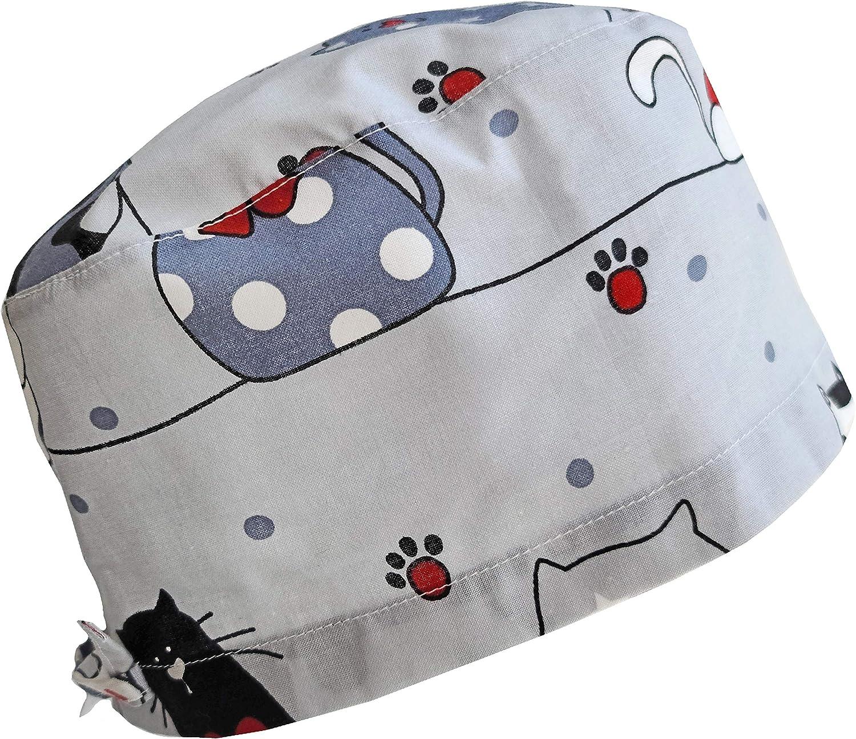 All CottonBonnet ou Chapeau de chirurgie avec attaches \u00e0 l/'arri\u00e8re Laundry Cats Surgical Hat or Surgical Cap with Tie Back