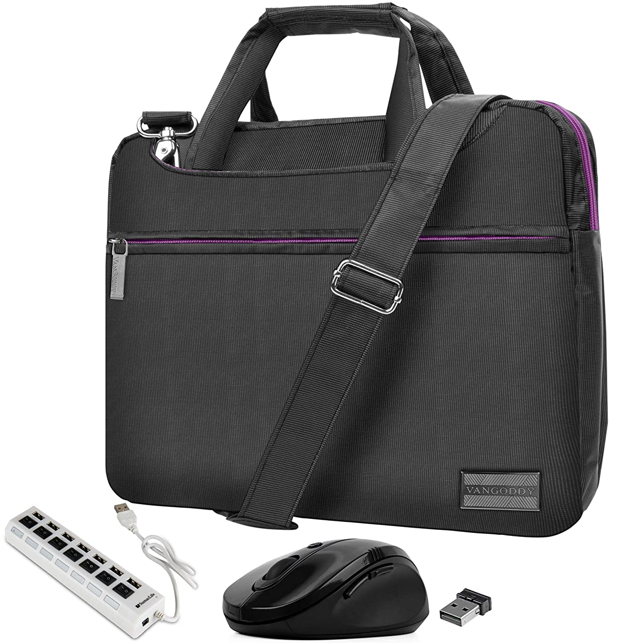 VanGoddy Slim Purple Trim Laptop Messenger Bag with USB Hub and Mouse Suitable for Samsung Notebook, ChromeBook, Galaxy Book2 11