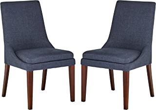 Stone & Beam Alaina Modern Upholstered Dining Room Kitchen Chairs, 37 Inch Height, Set of 2, Navy Blue