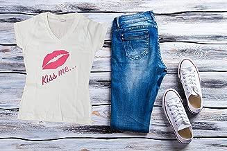 Women T-shirt, V neck, kiss me, white t-shirt, women cloth, casual cloth, graphic & inspiration tee, encouraging shirt, fitness shirt.