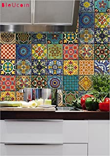 Mexican Muted Colors Peel & Stick Tile Backsplash Stair Riser Decals DIY Tile Decals Mexican Talavera Waterproof Home Decor Staircase Decal Stair Mural Decals 22 Designs (Pack of 44) (4.25