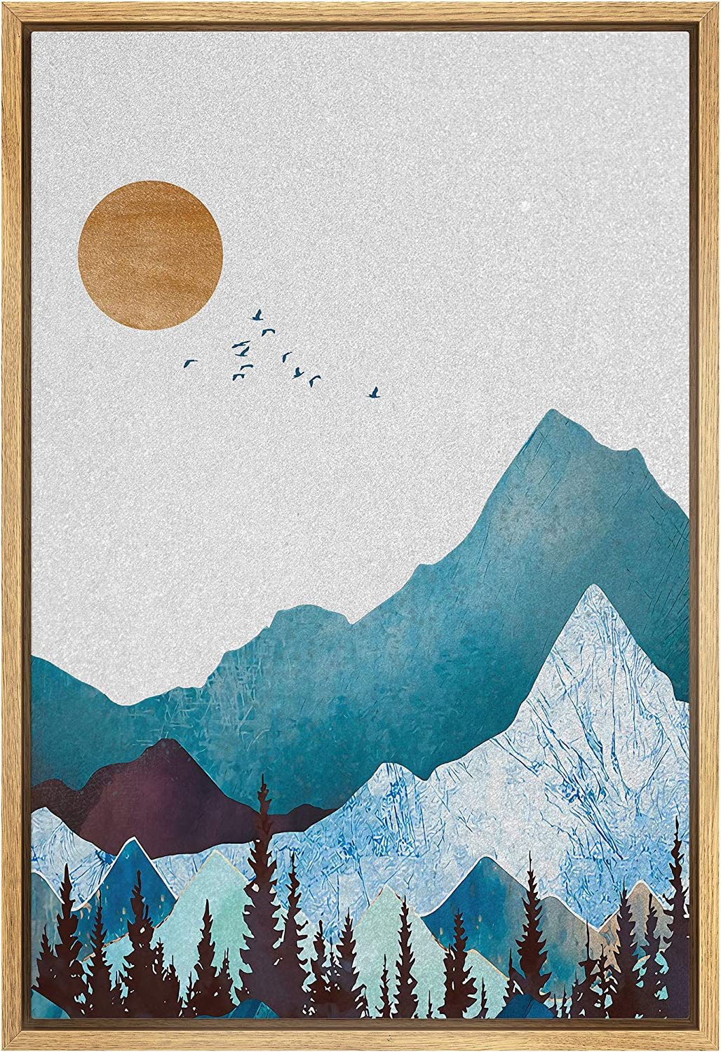 SIGNFORD Framed Canvas Print Wall Blue Las Vegas Mall Ranking TOP1 Art with Mountains Granit