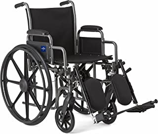 """Medline Comfort Driven Wheelchair with Removable Desk Arms and Elevating Leg Rests, 18"""" Seat"""