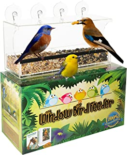 Superior Window Bird Feeders for Outside w/Easy Lift Bird Seed Tray, Strong Suction Cups & 2 Way Mirror Film - Also Use as Bird House or Squirrel Feeder for Women, Men, Kids & Cats