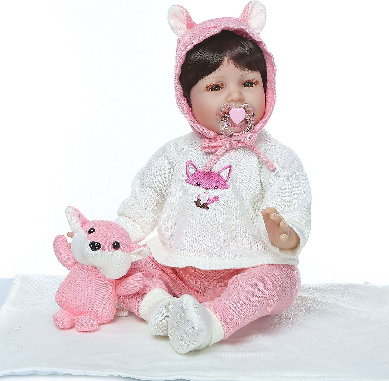 ZIYIUI 22 inch 55cm Reborn Baby Handmade Soft Silicone Realistic Doll Newborn Baby Girl Toy Baby Boy Baby Girl Birthday Present