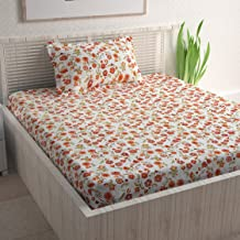 Divine Casa Sense Cotton BedSheet with 1 Pillow Cover - Floral, Orange and Green