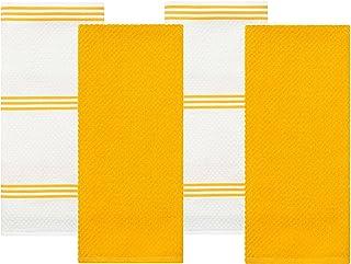 Sticky Toffee Algodón Terry Toalla de Cocina Plato, 4 Unidades, 100% aldodón, Amarillo, 71 x 40,6 cm