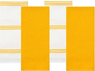 Sticky Toffee Cotton Terry Kitchen Dish Towel, Yellow, 4 Pack, 28 in x 16 in