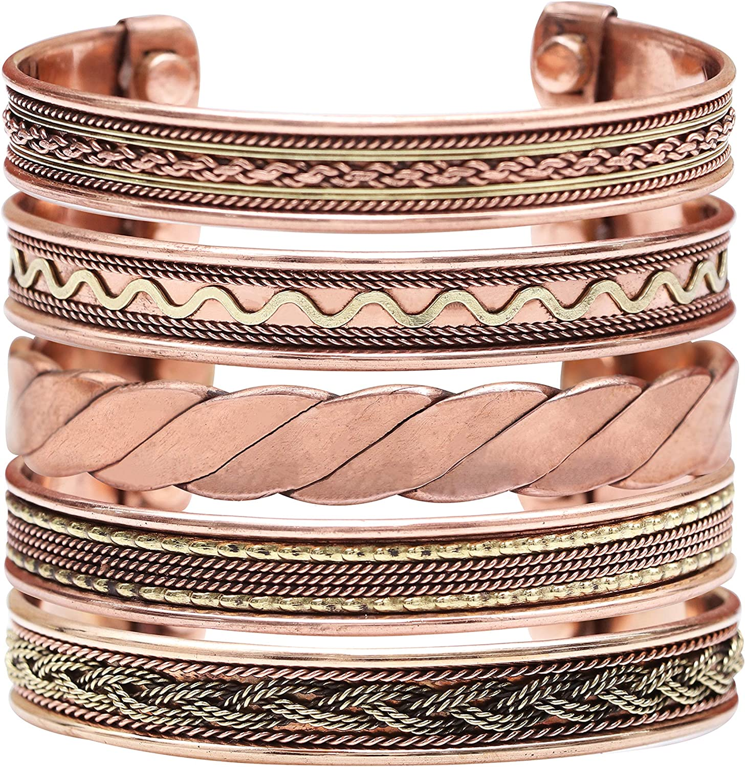 Crocon Exclusive Tibetan Copper Adjustable Magnetic Bangle Bracelets | Indian pattern | Spiritual | Meditation | Gorgeous Collection | Ideal Gift | Yoga Jewelry | Unisex