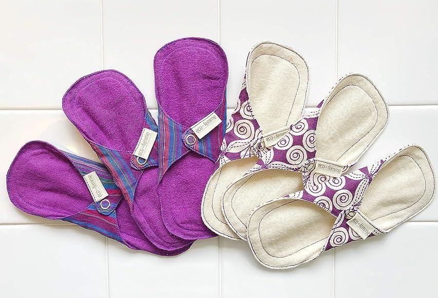 診療所抑止するヒープ南インド「Eco Femme」布ナプキン (防水なし)軽い日用3枚×2セット