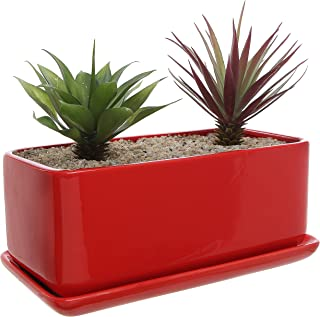 10 inch Rectangular Modern Minimalist Red Ceramic Succulent Planter Pot/Window Box with Saucer