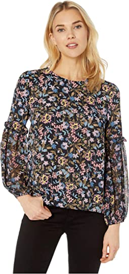 Mix Media Demure Flora Puffed Sleeve Blouse