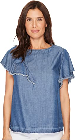 B Collection by Bobeau - Tommie Tencel Ruffle Blouse