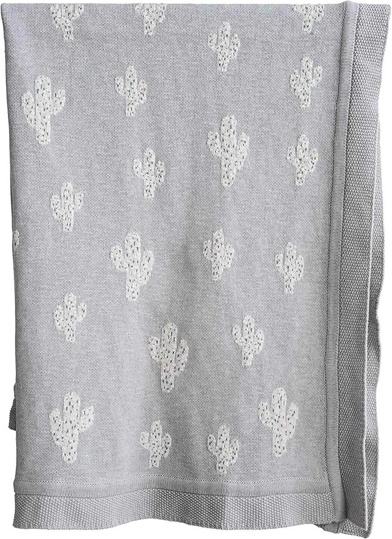 Creative Co-Op DA9872 Grey Cotton Knit Throw with Cactus
