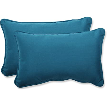 Amazon Com Pillow Perfect Outdoor Indoor Rave Teal 5 X 2 Pack 1 Lumbar Pillows 11 5 X 18 5 Green Home Kitchen