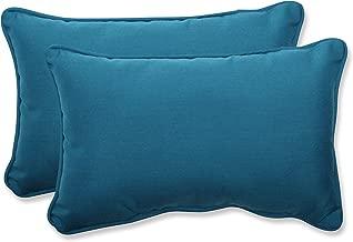 Pillow Perfect Indoor/Outdoor Rectangular Throw Pillow (Set of 2) with Sunbrella Spectrum Peacock Fabric, 18.5 in. L X 11.5 in. W X 5 in. D
