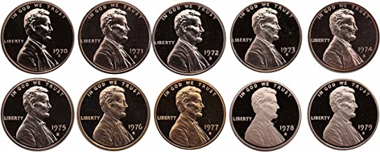 1970-1979 S Lincoln Memorial Cent Gem Deep Cameo Proof Run 10 Coin Set US Mint Penny Lot Complete 1970's Set
