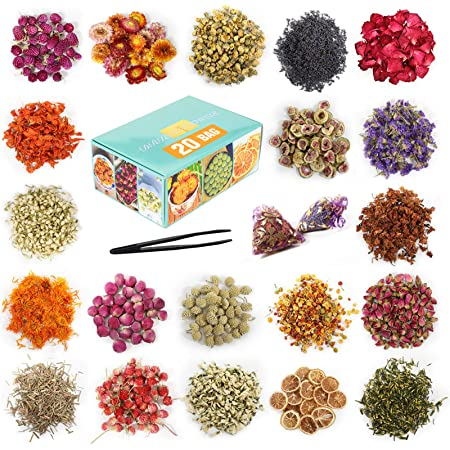 20 Bag - Dried Flowers, Natural Dried Flower Herbs Kit for Bath, Soap Making, Candle Making - Include Rose Petals,Rosebuds,Lilium,Jasmine,Don't Forget Me and More