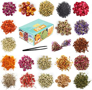 20 Bag - Dried Flowers, Natural Dried Flower Herbs Kit for Bath, Soap Making, Candle Making - Include Rose Petals,Rosebuds...