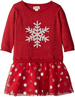 Glitter Snowflake Drop Waist Dress (Toddler/Little Kids/Big Kids)