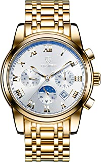 Tevise Casual Watch Analog Stainless Steel Band for Men, Gold, 9005G-GW