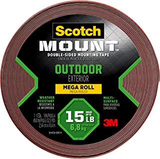 Scotch-Mount Outdoor Double-Sided Mounting Tape 411H-Long-DC, 1 in x 450 in