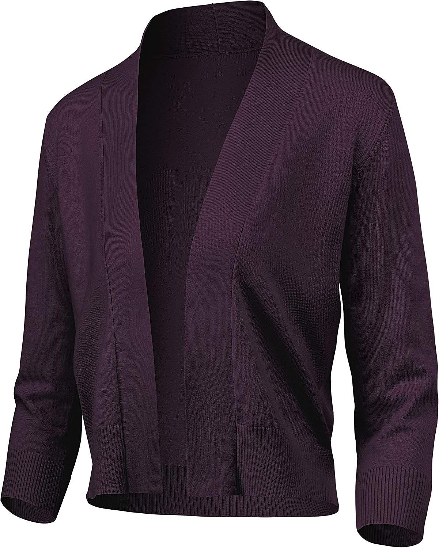 Women's Classic 3 4 Sleeve Open Superlatite Cropped Cardigan Bolero Save money S Front